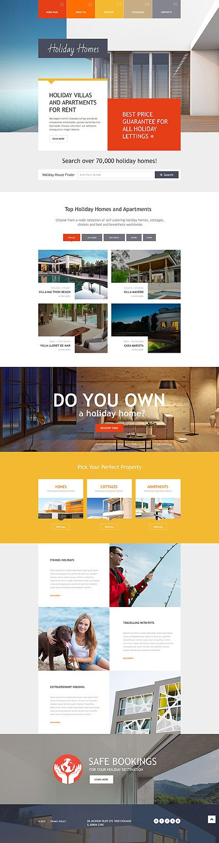 Template 54590 - Holiday Homes  Responsive Website Template