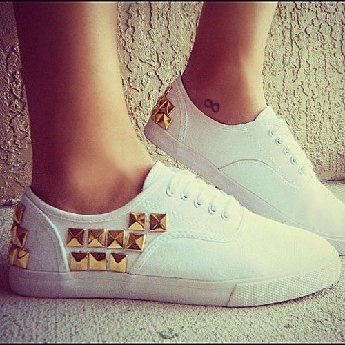 gold studded vans #DIY #studs #shoes | SwimSpot.com