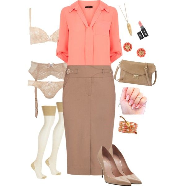 """Orange Bon Bon"" by lovelyjessica on Polyvore Oh my. The garter belt and stockings make this outfit purrrfect"