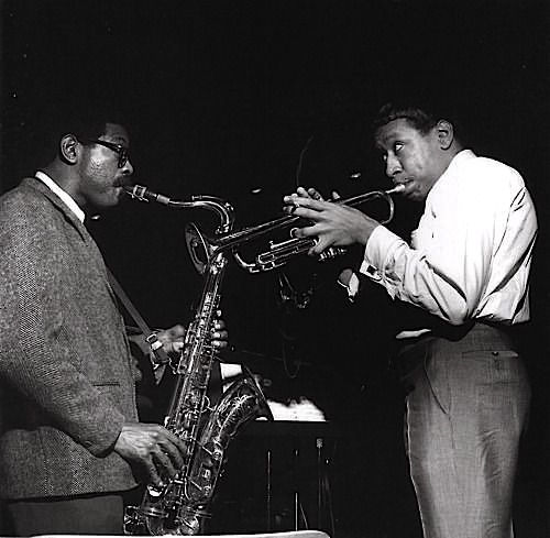 Joe Henderson and Lee Morgan during Morgan's The Rumproller session, Englewood Cliffs, New Jersey, April 21, 1965 (photo: F. Wolff)