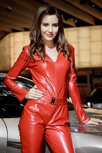 Belted red leather jumpsuit