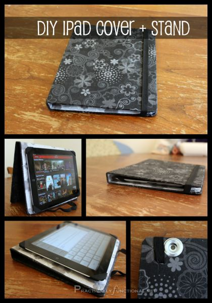 DIY iPad Cover And Stand: Make your own iPad case out of an old binder and some fabric! It even has a hole for the camera!