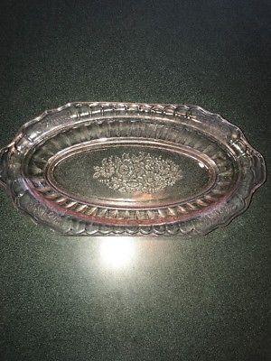 Vintage Pink Glass Serving Bowl Etched Floral Pattern