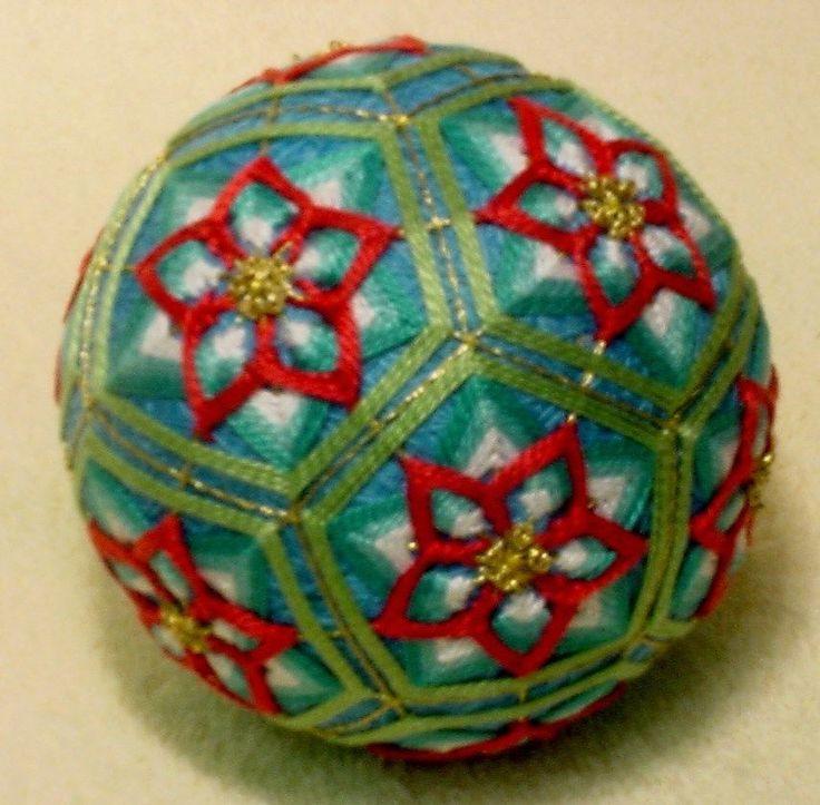 """Japanese Temari Ball    12 1/2""""       Waterlilies"""