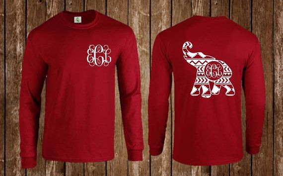 Aztec, Tribal,, Long Sleeve, Tee Shirt, T-Shirt, Shirt, Monogrammed, Tee, Football Team Shirt, Alabama Shirt, Alabama Monogram, Elephant