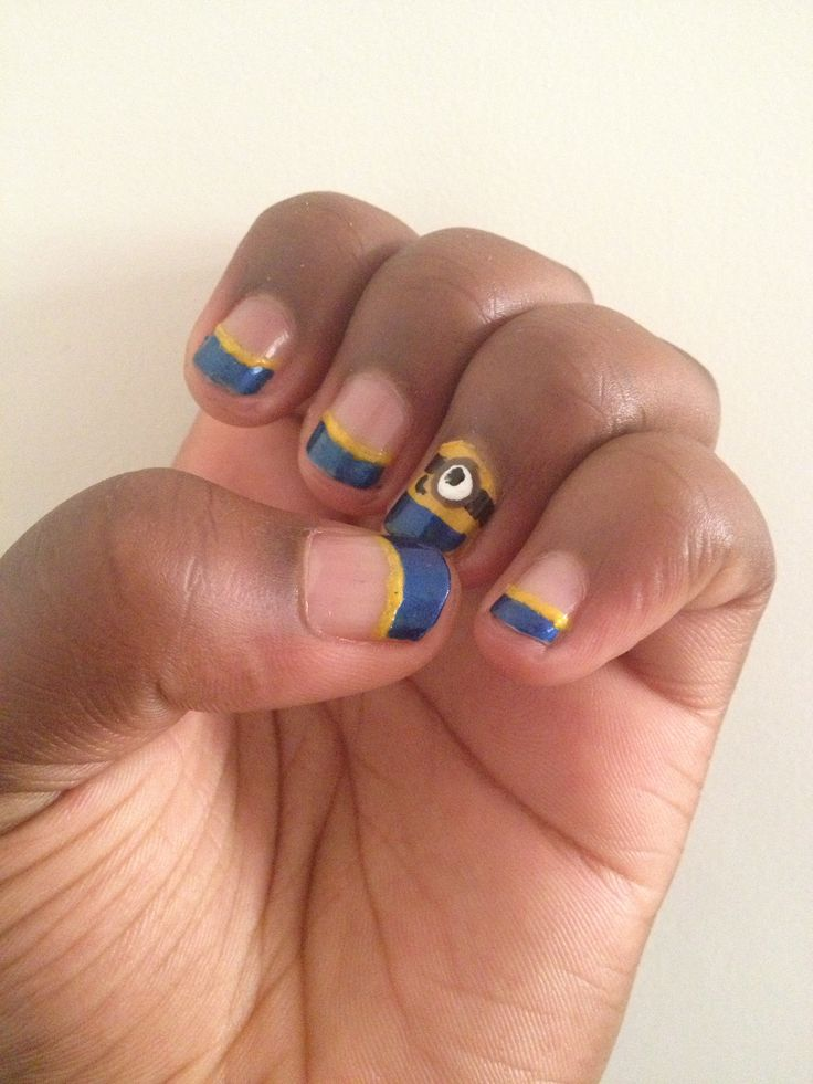 Despicable me summer nails by Emily Jolliff. Easy & Cute DIY. Fun for anything. For long or short nails.
