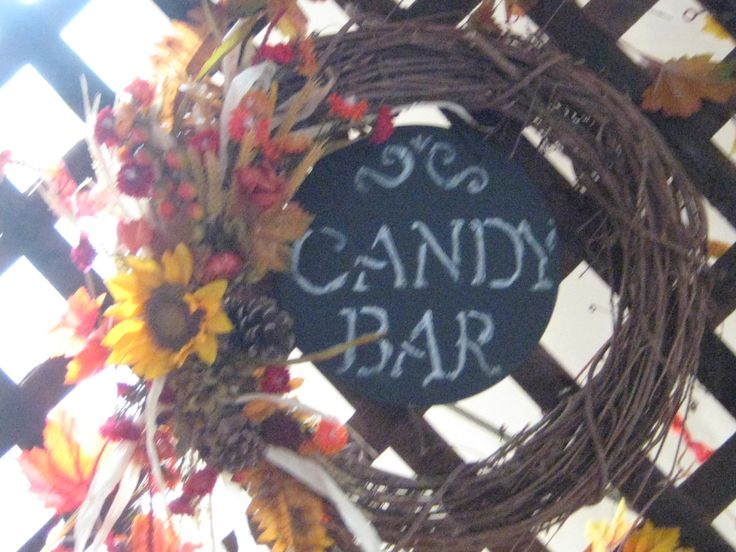 Fall Wedding Wreath and Chalkboard for Candy Bar