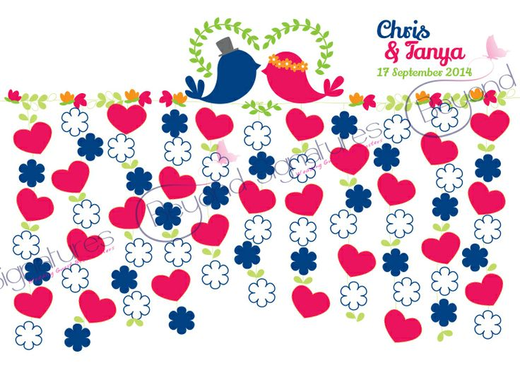 Pink & Navy Love Birds. Have guests sign on the hearts and flowers. beyondsignatures.com