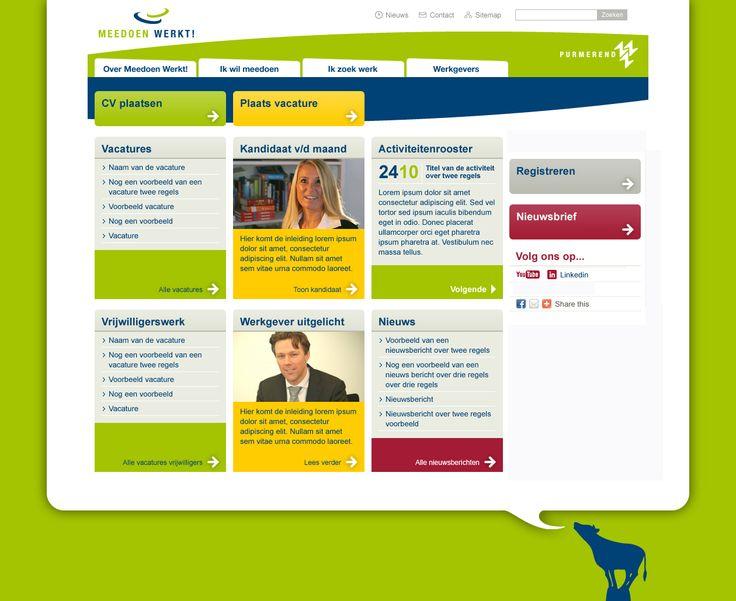 Meedoen in Purmerend - portaal voor vraag & aanbod. Communicatieplan Aanval op de bijstand, website www.meedoeninpurmerend.nl, vacaturebank, matching Wwb'ers en social media pr.