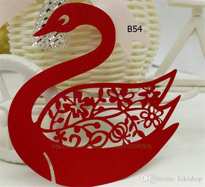 Laser Cut Swan Pearl Paper Place Cards Wedding Party Decoration Pierced Flowers Wine Glass Card We205 3 Types From Kikishop, $53.93 | Dhgate.Com