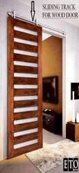 installed sliding door hardware like this for bathroom and closet doors.