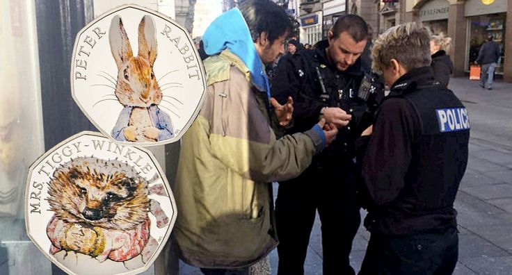 A homeless man who was moved on by police got a lucky break when he was handed a 50p coin that could be worth thousands of pounds. The vagrant was sitting outside Greggs in Exeter, Devon, seeking money from strangers when officers approached him and asked him to move.  But before moving on, the homeless