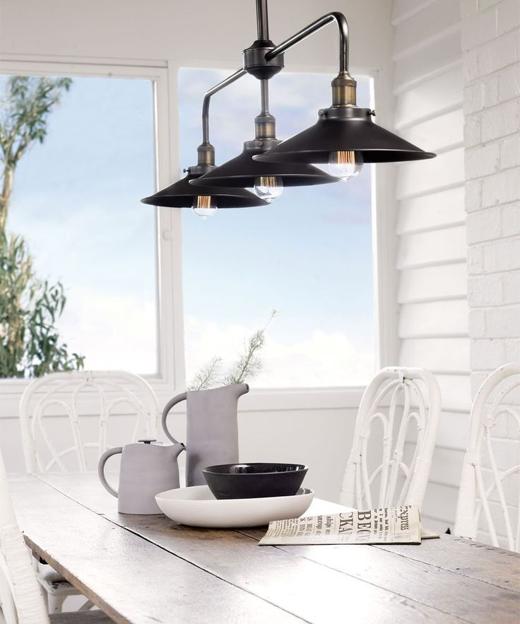 Beacon Lighting - Manor 3 light bar pendant in aged steel (frame only shades sold separately)