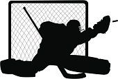Silhouette of a hockey goalie with puck and net all separate elements.