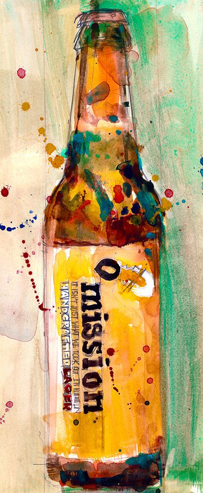 OMISSION gluten free lager Beer Original Watercolor  by dfrdesign