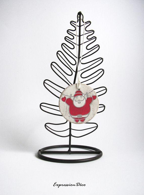 Decoration du sapin boule de Noël en bois patiné blanc motif Père Noël