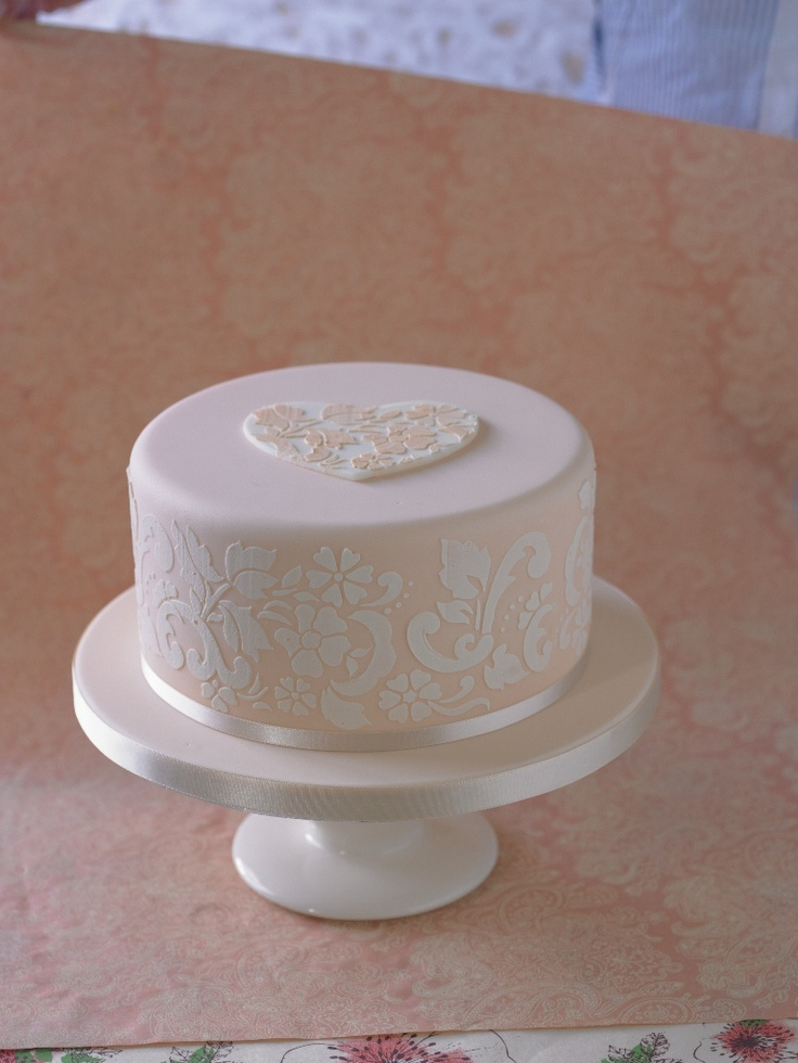 cute cake with love heart on top