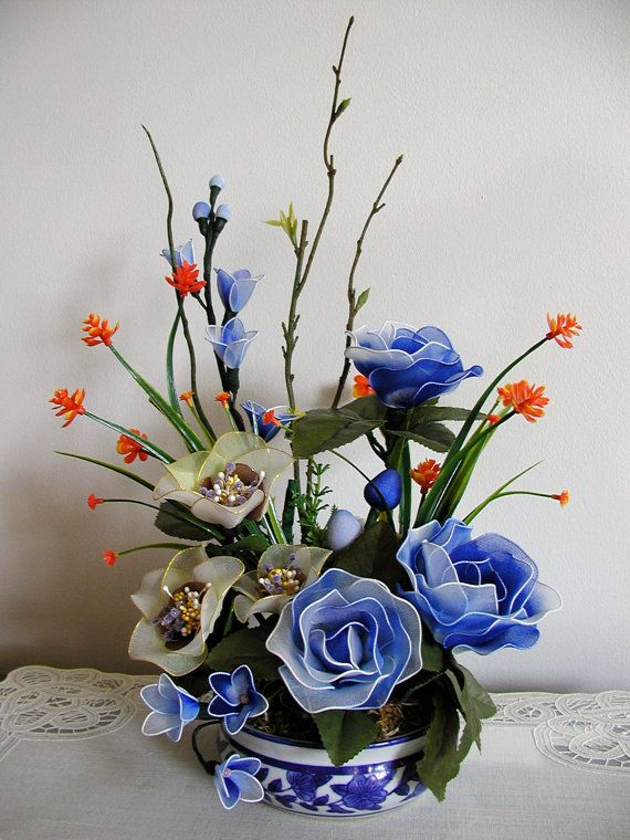 Handmade Nylon Flower Arrangement by LiYunFlora on Etsy