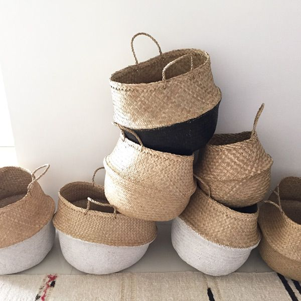Versatile Hand Made Eco Dipped White Seagrass Baskets Are