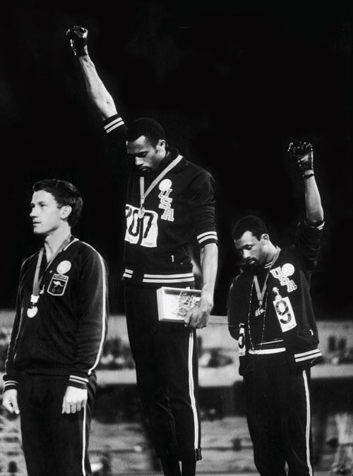 Young men of courage and integrity:  Tommie Smith and John Carlos at the 1968 summer Olympics in Mexico City - in black gloves to signify black power, in socks to signify their poverty.  They were kicked off the Olympic team, received death threats and more
