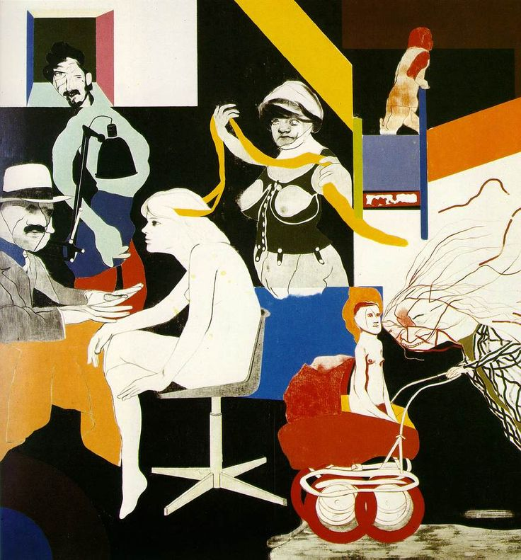 R B Kitaj -  The Ohio Gang  1964 (120 Kb); Oil on canvas, 182.9 x 182.9 cm (72 x 72 in); The Museum of Modern Art, New York