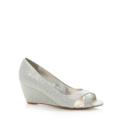 Silver metallic peep toe mid wedges at debenhams.com (Bridesmaid shoe ideas)