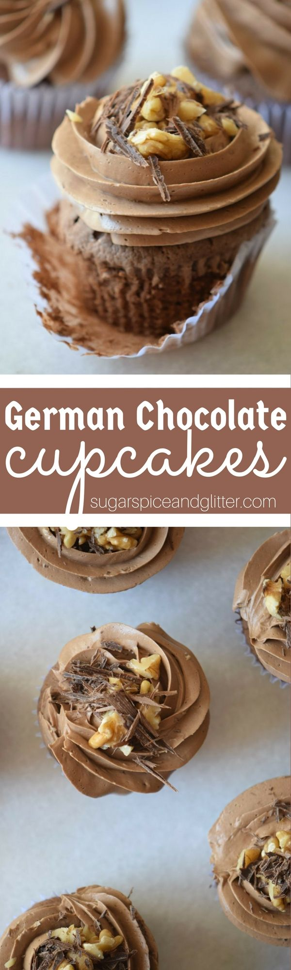 Authentic German Chocolate Cupcakes with tart chocolate frosting and a sticky coconut-pecan topping. These from-scratch chocolate cupcakes are perfect for the semi-sweet chocolate fan