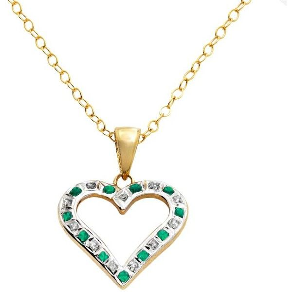 18k Gold-Over-Silver Emerald Heart Pendant ($30) ❤ liked on Polyvore featuring jewelry, pendants, green, 18k gold jewelry, gold heart pendant, gold jewelry, 18k yellow gold pendant and yellow gold heart pendant