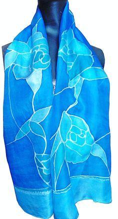 Hand painted Silk Scarf blue and green , Zijden sjaal met de hand beschilderd 140 x 40 cm (55 x 15, 5) inches door Silkatelier op Etsy