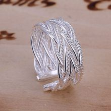 Free Shipping 925 Sterling Silver Ring Fine Fashion Small Net Weaving Silver Jewelry Ring Women&Men Gift Finger Rings SMTR023(China (Mainland))