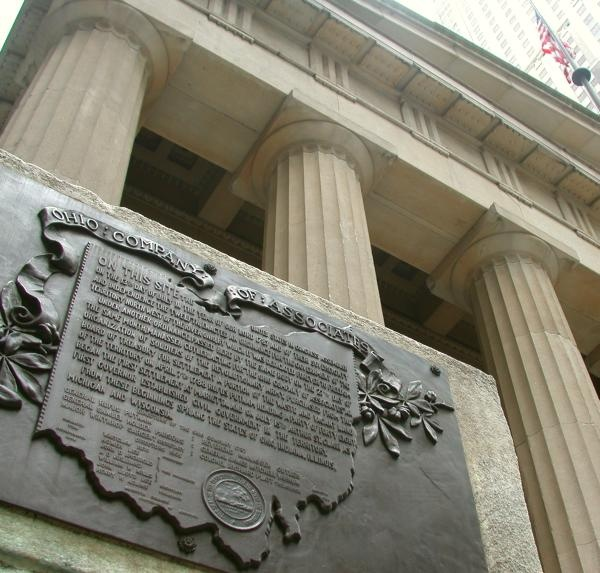 Plaque commemorating the Northwest Ordinance outside Federal Hall in lower Manhattan