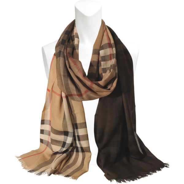 Burberry Giant Gauze Ombré 220x70 cm stole ($435) ❤ liked on Polyvore featuring accessories, scarves, brown, burberry, brown scarves, ombre scarves, burberry shawl and brown shawl