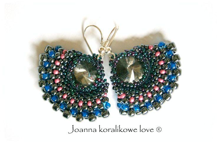 Earrings kolczyki peyote Swarovski
