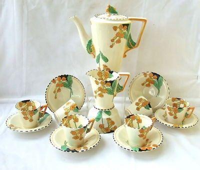 Art Deco Burleigh Ware Complete Coffee Set, Medowland   #162601530