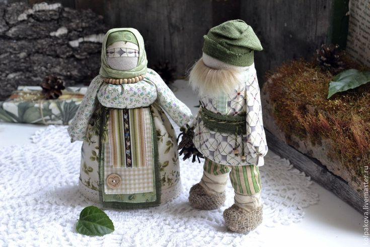 """Купить куклы Сёмик и Семичиха """"Вместе навсегда"""". - зеленый, сёмик и семчиха, кукла ручной работы"""