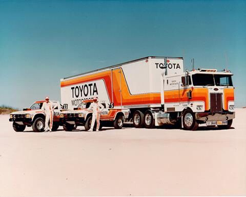 "Ivan ""ironman"" Stuart's stadium trucks and the semi that hauled them around."