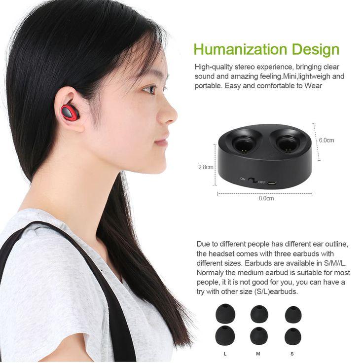 TWS-K2 True Wireless Bluetooth 4.1 In-ear Stereo Sport Sales Online red - Tomtop.com