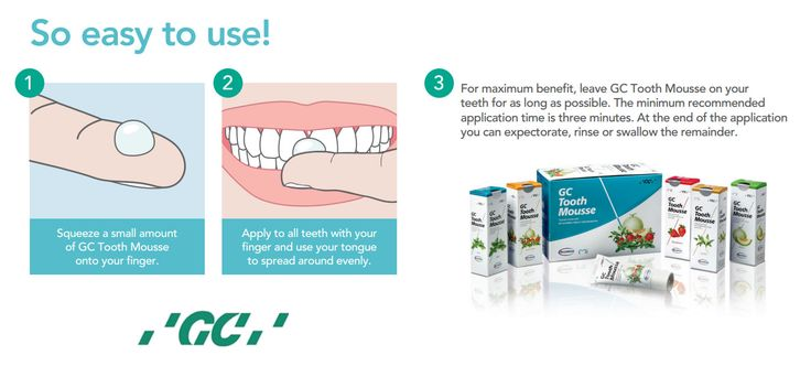 #ToothMousse is applied to tooth surfaces, the (#CPPACP) molecule binds to biofilm, plaque, bacteria, hydroxyapatite and surrounding soft tissue localizing bio-available calcium and phosphate. Tooth Mousse works quickly, within 2-5 minutes, but the longer (#CPPACP) is maintained in the mouth the more effective the result. For more information Call Toll free: 1800-425-3132