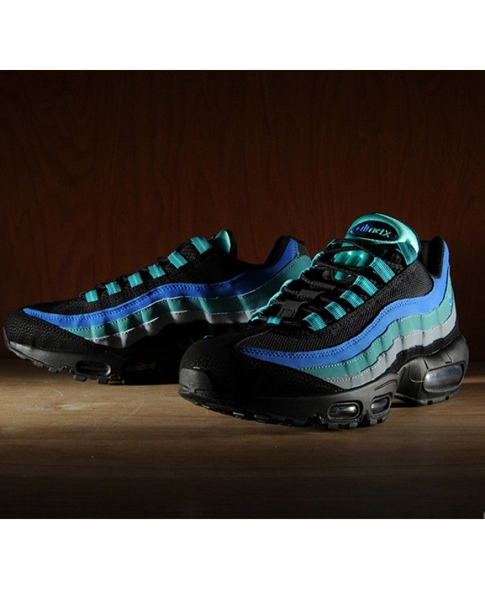 sale retailer cb3b8 a689e Nike Air Max 95 Black Hyper Royal Blue Green Trainers