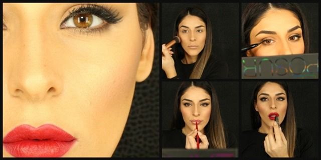 Red lips eyeliner makeup. Get the look with this tip!