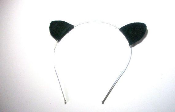 Black Cat Ear Headband Leather Ear Headpeace by LeatherAndFlower, $21.00