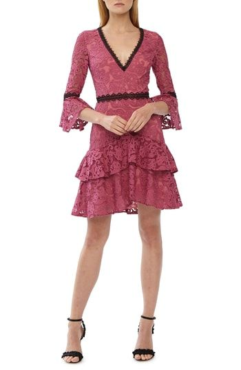 50db8dd7a9a Chic ML Monique Lhuillier Lace Trim Ruffle Dress womens dresses.   550   perfecttopbuy from top store