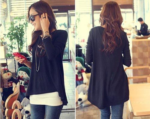 Eye Classical Loose Solid Irregular Shirts  Shirts from stylishplus.com