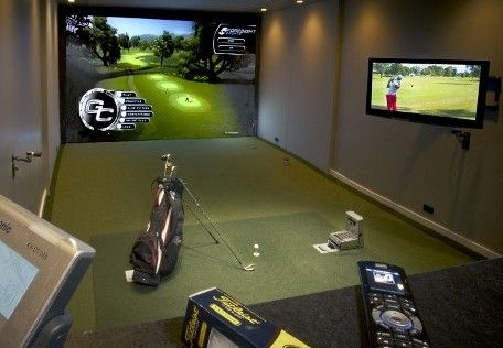 73 best images about golf home ideas on pinterest for Golf simulator room dimensions