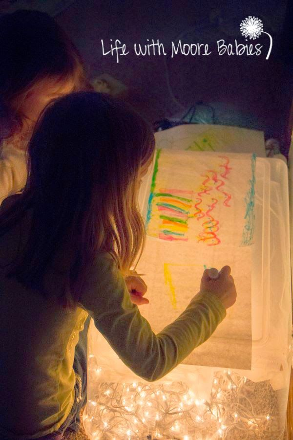 Life with Moore Babies: Highlighter Drawing on the Light Table #kids #kidsart