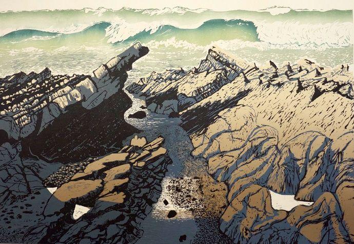 Pine Feroda: Wave Cut Gulley, 2015 Woodcut 113 x 145 cm edition of 50
