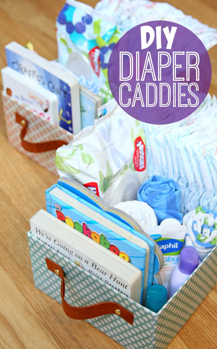 DIY Diaper Caddies - Organize all your baby essentials with Diaper Caddies made from upcycled boxes.  #HuggiesNewYear AD