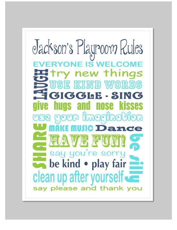 Personalized Kids Playroom Rules