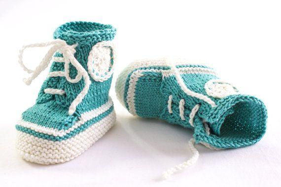INSTANT DOWNLOAD PATTERN Knitting, Sneaker Booties,Trainer Booties,Baby Lace Up Booties,Baby Converse Booties,