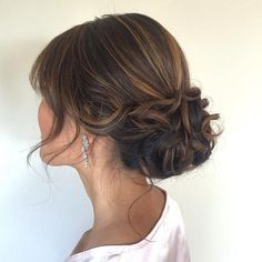 Low Updo hair With Bangs Mid length hairstyles for women | For more fabulous style and fashion tips, visit 40plusstyle.com